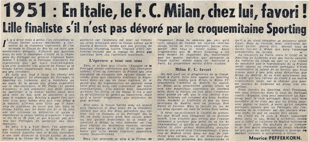 coupe latine 1951 journal