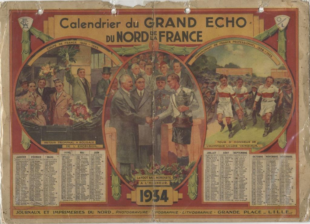 calendrier 1934