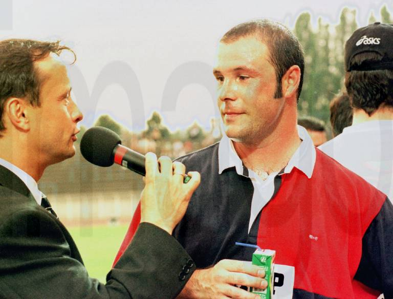Belgian Johan Bosman talking to journalist at the end of the Bosman Benefit Match this Tuesday May